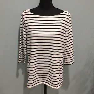 Merona 3/4 Sleeve Striped Boatneck Top